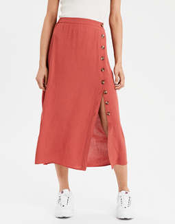 Ae Chunky Button Midi Skirt by American Eagle Outfitters