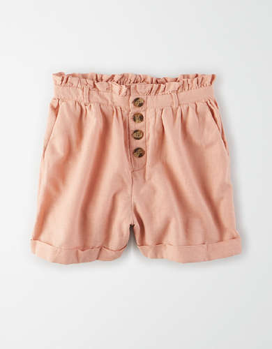 AE High-Waisted Button Front Paperbag Short