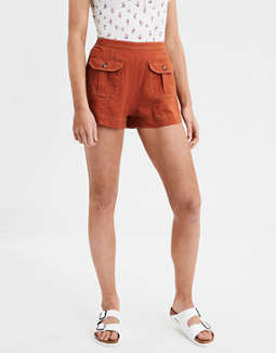 High Waisted Linen Short by American Eagle Outfitters