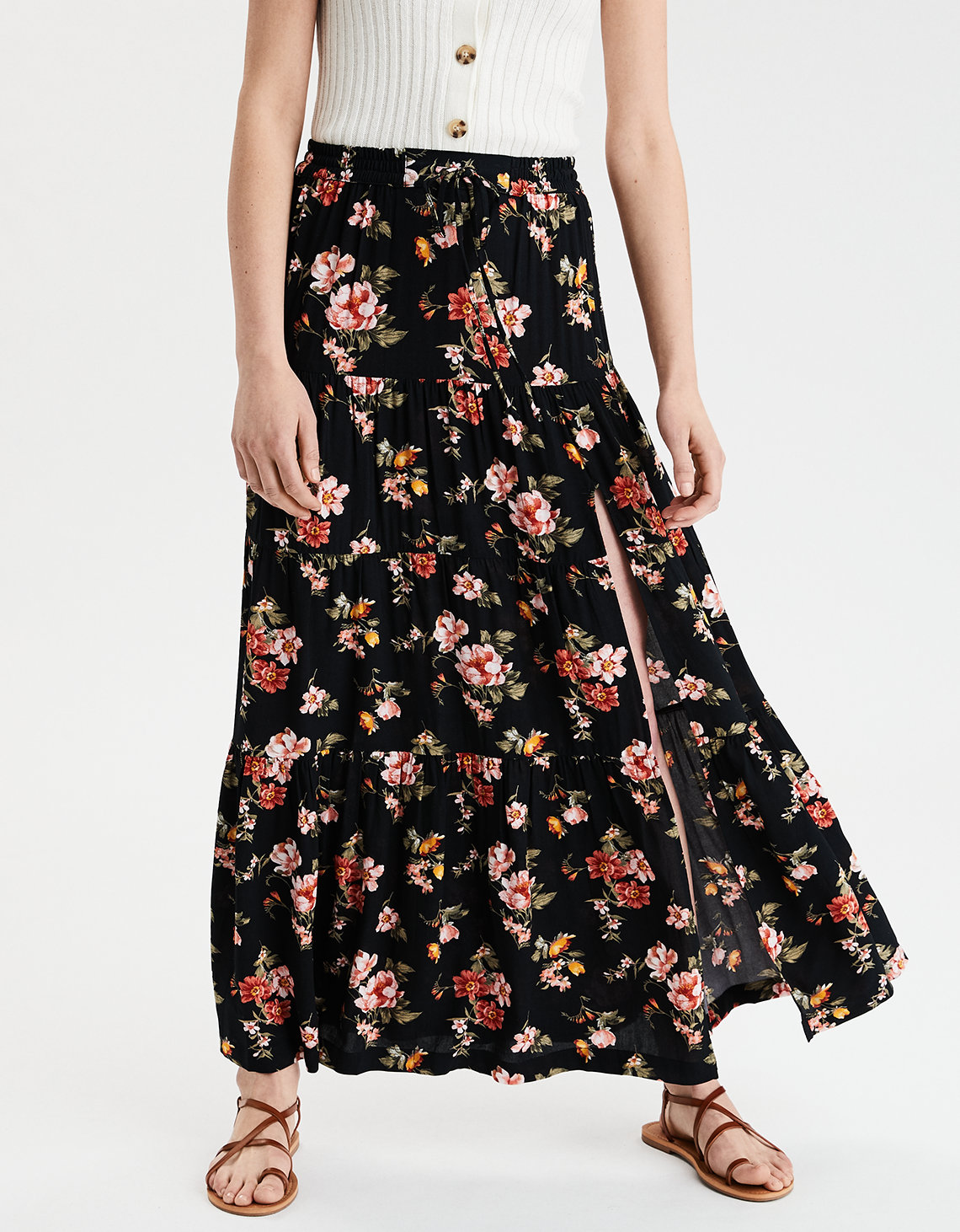 AE High-Waisted Tiered Maxi Skirt
