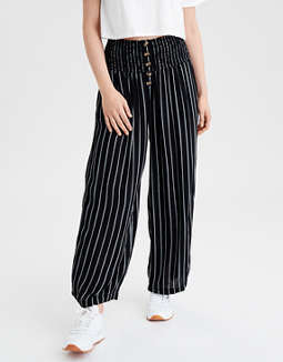 AE High-Waisted Button Front Palazzo Pant