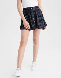 AE High-Waisted Plaid Midi Skirt