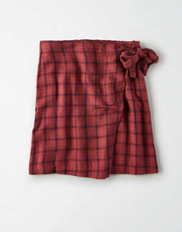 AE High-Waisted Plaid Wrap Mini Skirt