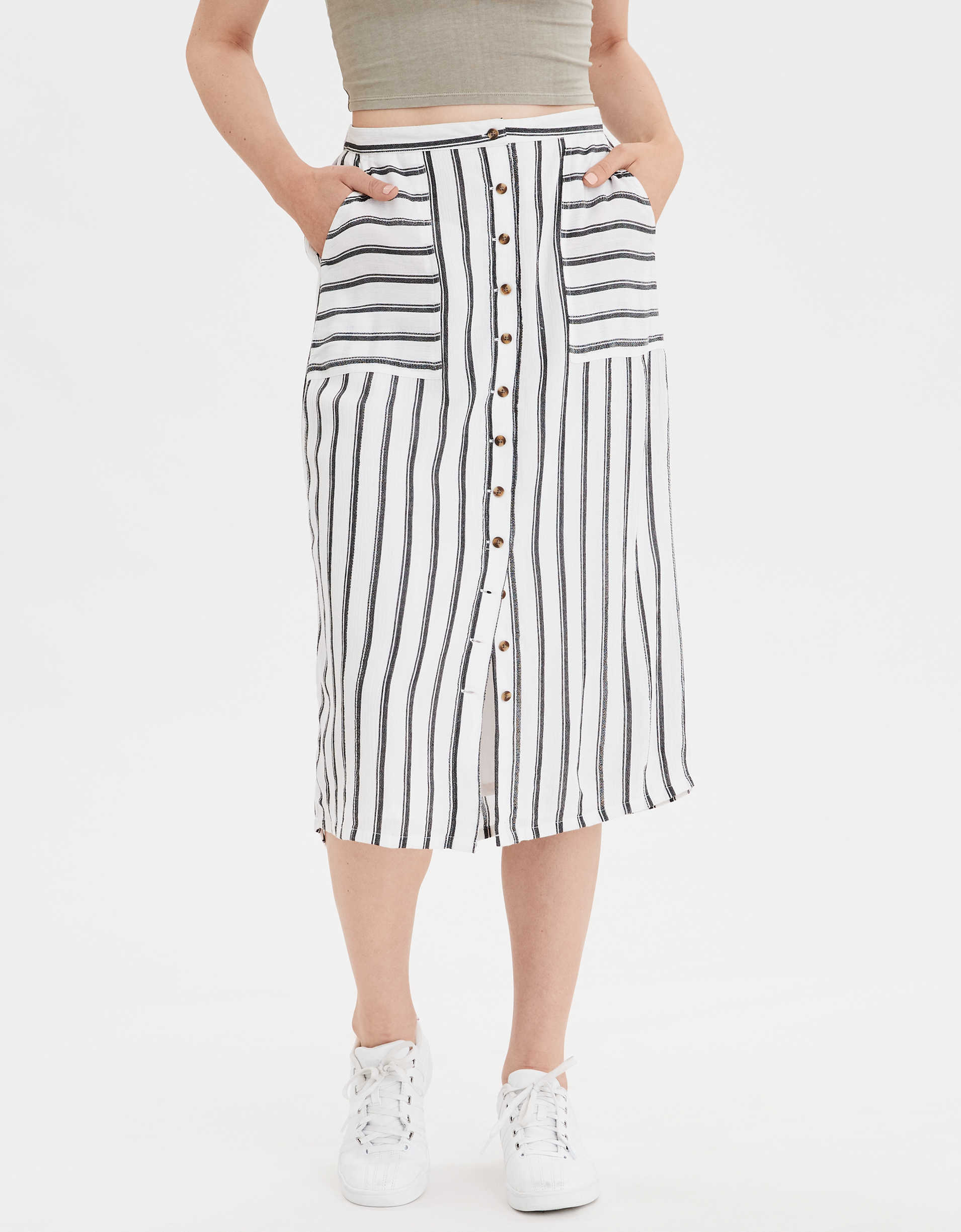 AE High-Waisted Striped Button Front Midi Skirt