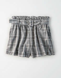 AE High-Waisted Plaid Paperbag Short