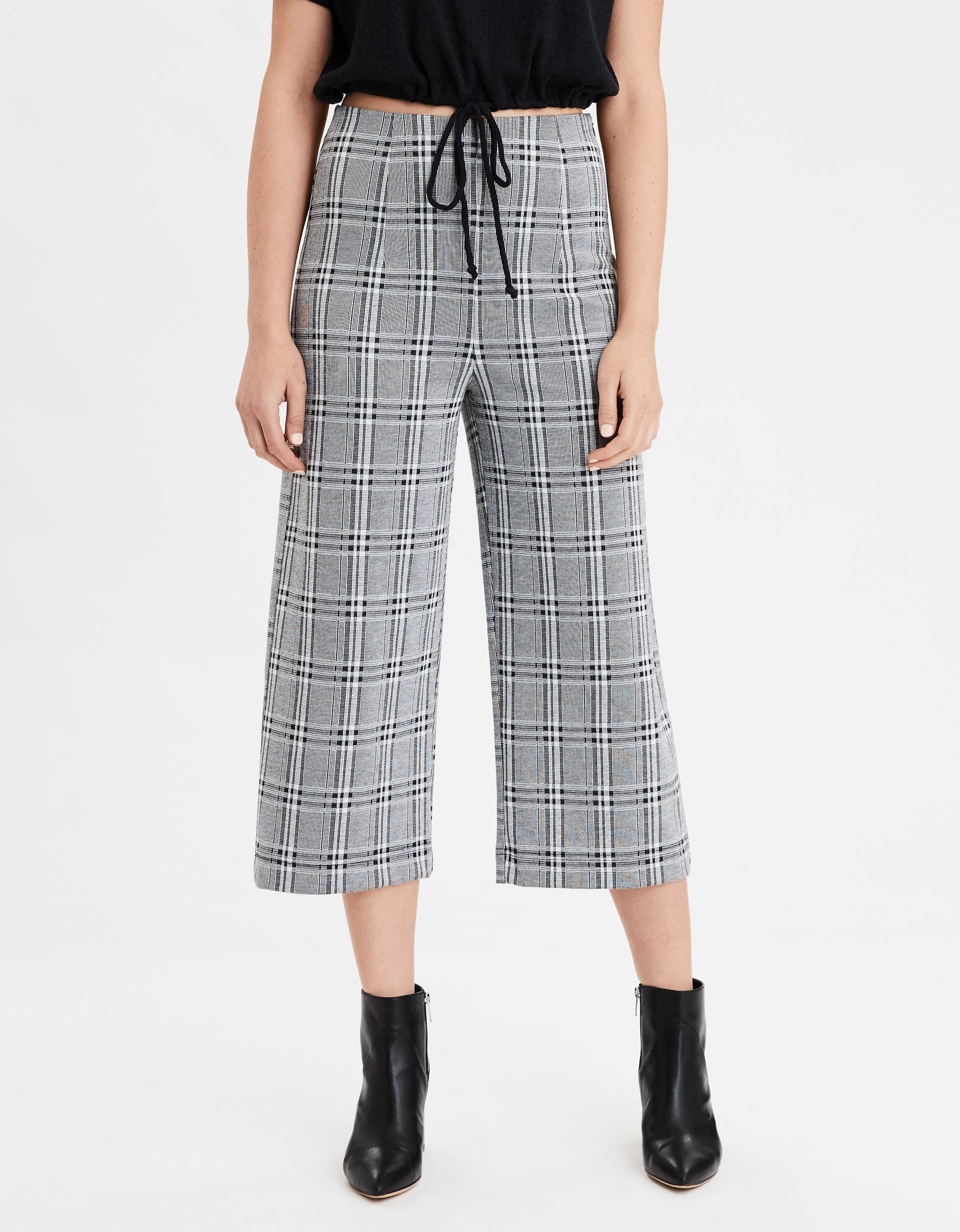 AE High Waisted Plaid Culotte Pant