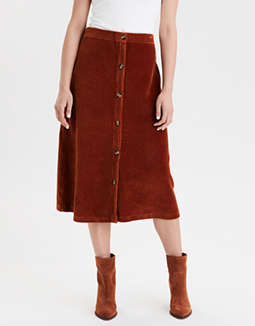 AE High-Waisted Corduroy Button Front Midi Skirt
