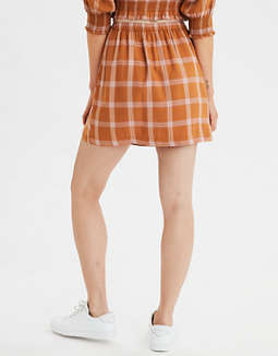 AE High-Waisted Plaid Button Front Mini Skirt