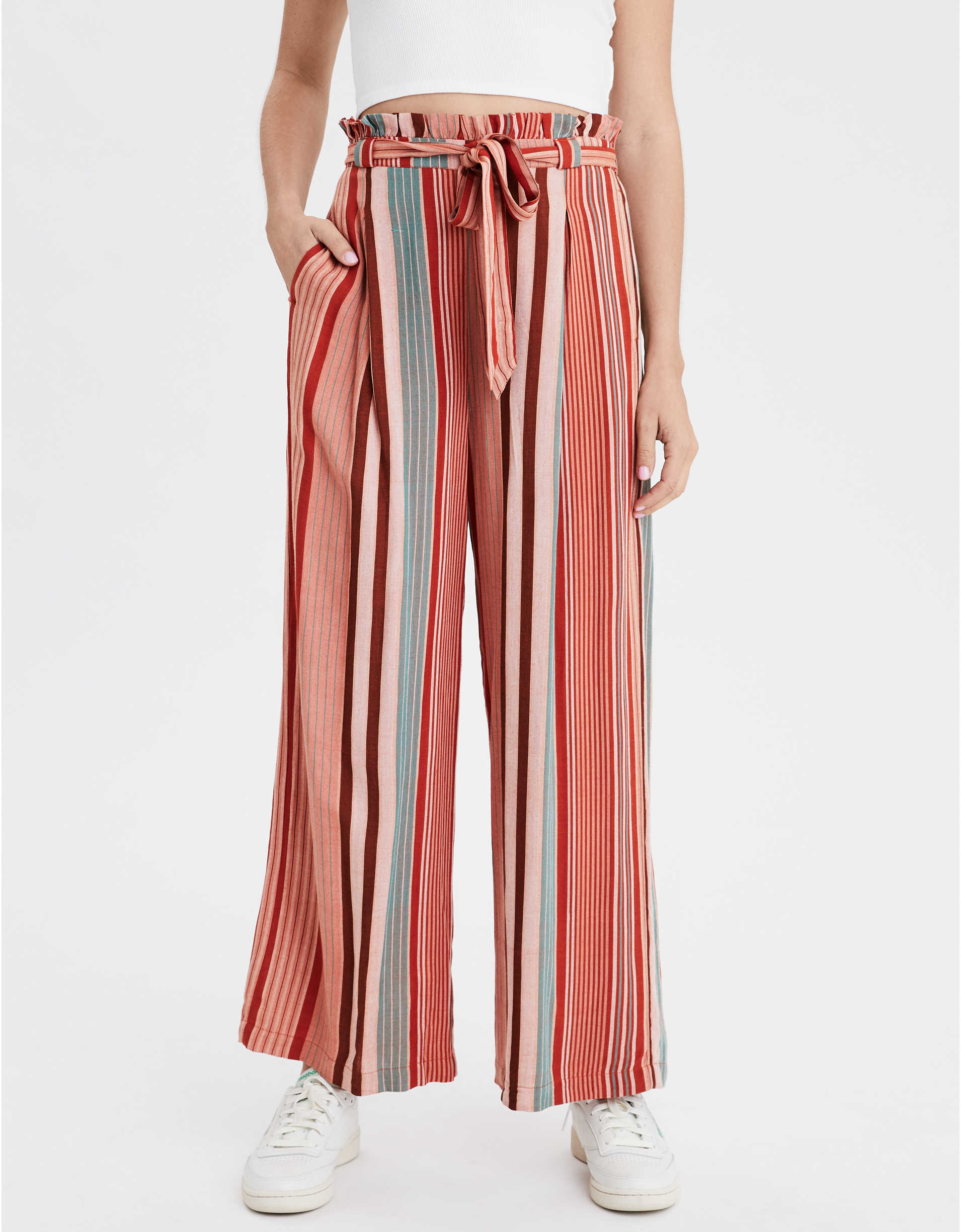 AE High-Waisted Tie Front Paperbag Pant