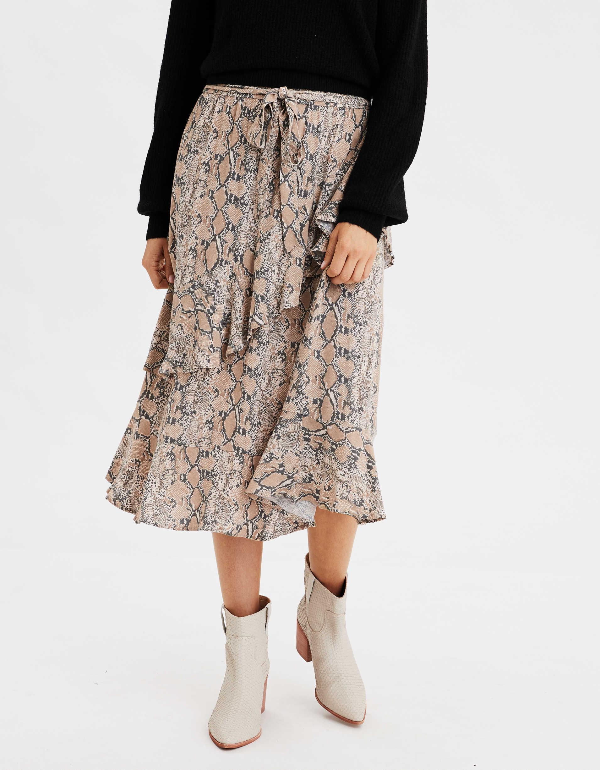 AE High-Waisted Snake Print Ruffle Midi Skirt