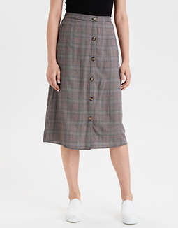 AE High-Waisted Plaid Button Front Midi Skirt