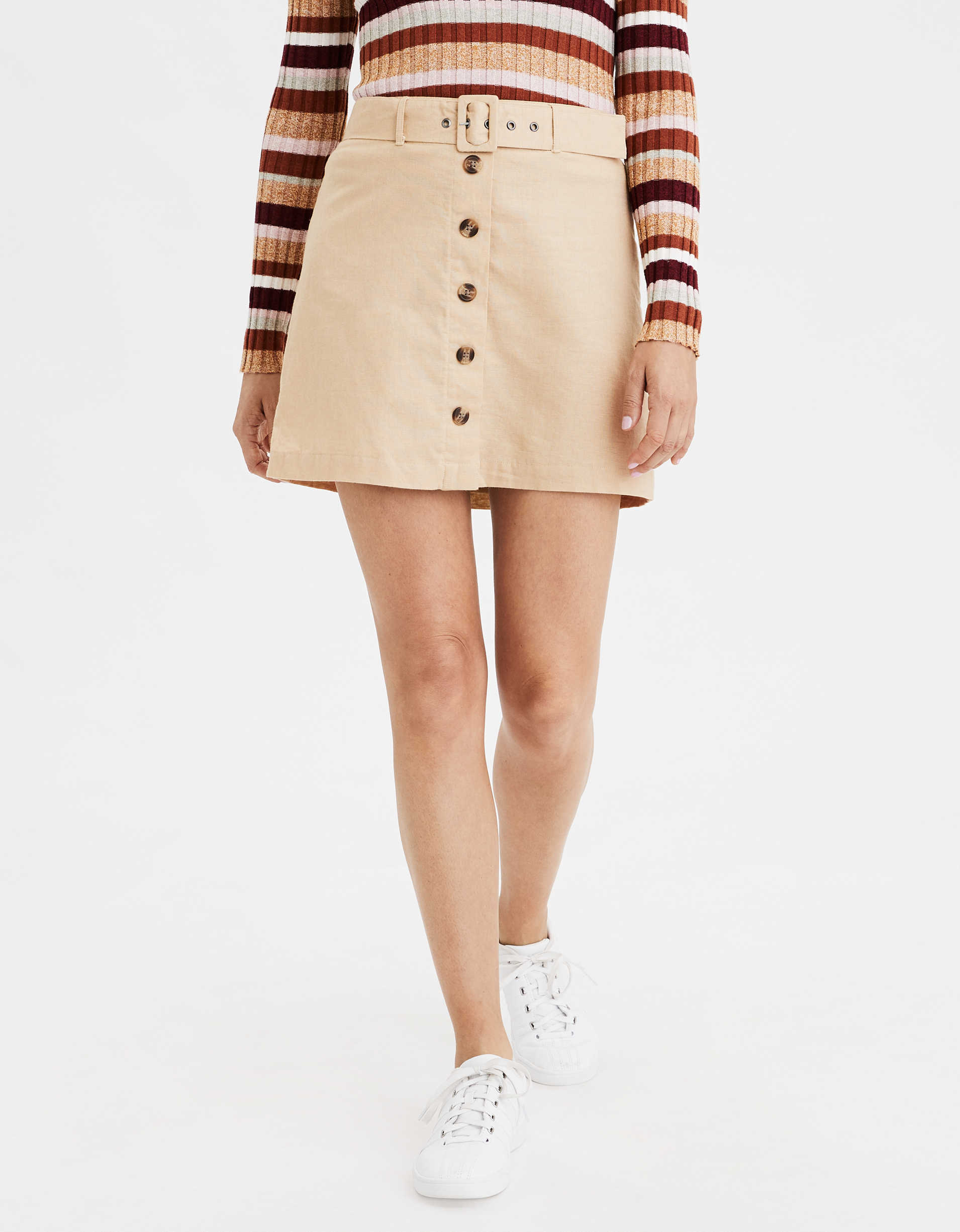 AE High-Waisted Button Front Mini Skirt