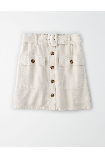60s Mod Clothing Outfit Ideas AE High-Waisted Belted Mini Skirt Womens Natural XXL $23.97 AT vintagedancer.com