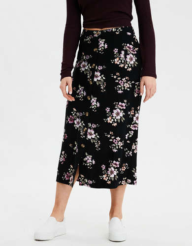 AE High-Waisted Button Front Midi Skirt