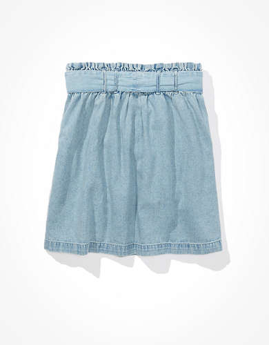 AE High-Waisted Denim Paperbag Mini Skirt