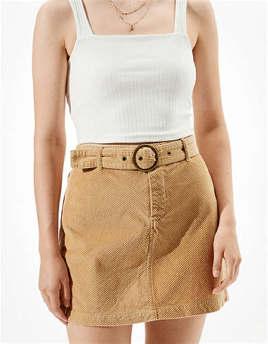 AE Corduroy Belted Mini Skirt
