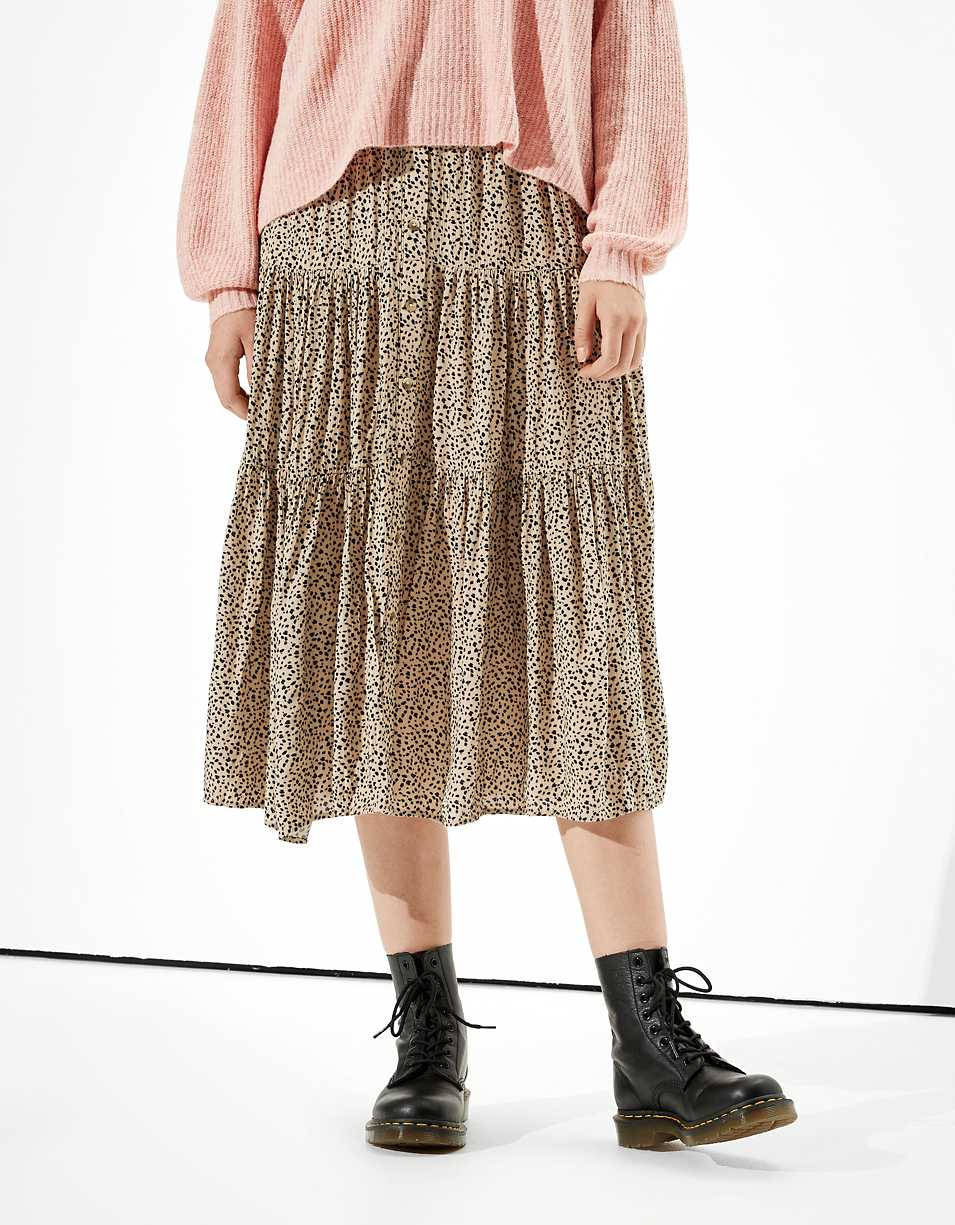 AE Tiered Button Up Midi Skirt
