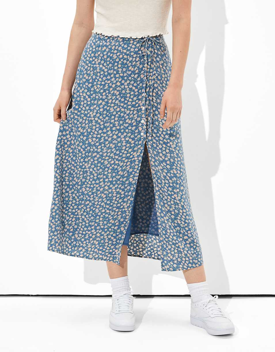 AE Button-Up Midi Skirt