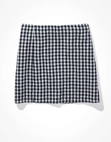 AE Gingham Notched Mini Skirt