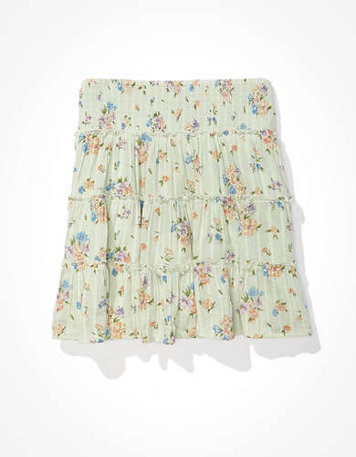 AE Floral Smocked Tiered Mini Skirt