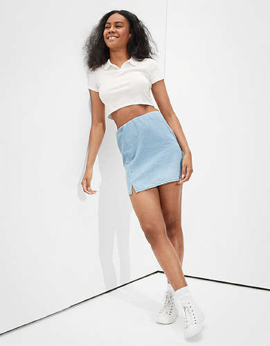 AE Denim Notched Mini Skirt