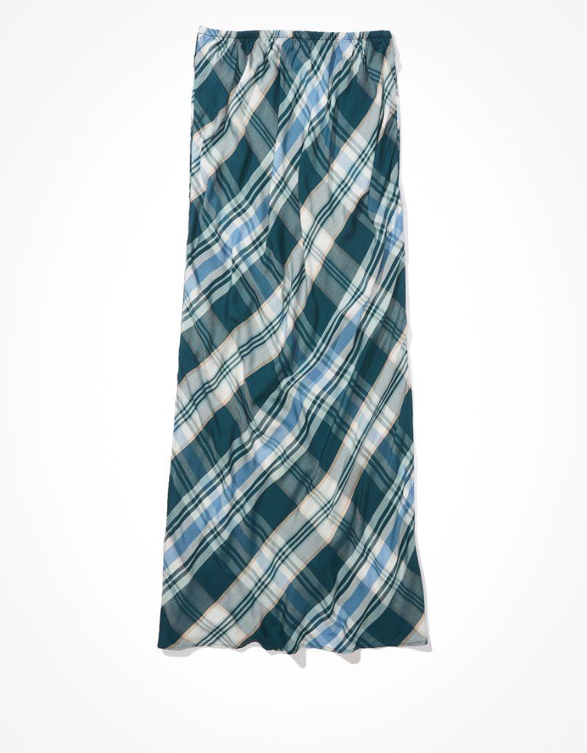 AE Plaid Slit Midi Skirt