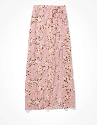 AE Floral Button-Up Slit Midi Skirt