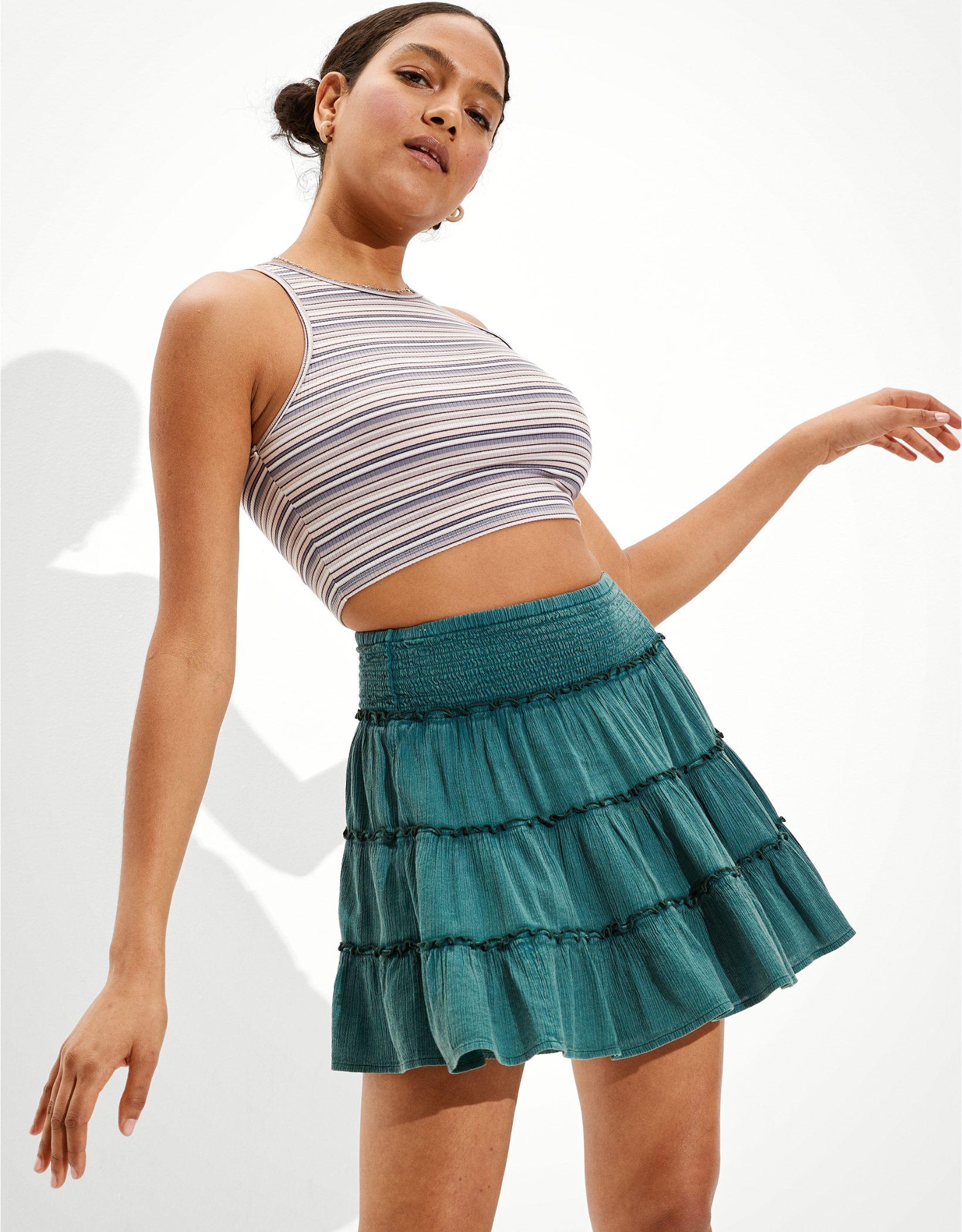AE Smocked Tiered Mini Skirt
