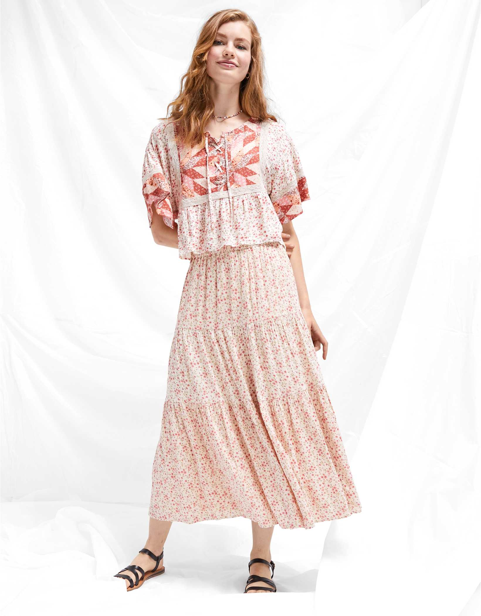 AE Floral Tiered Maxi Skirt