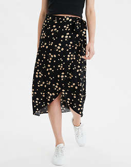 cbbd934ad placeholder image AE High-Waisted Floral Wrap Midi Skirt ...