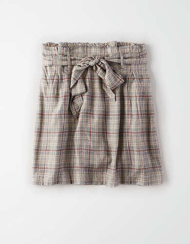 AE High-Waisted Plaid Paperbag Mini Skirt