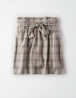 AE High-Waisted Plaid Paperbag Mini Skirt