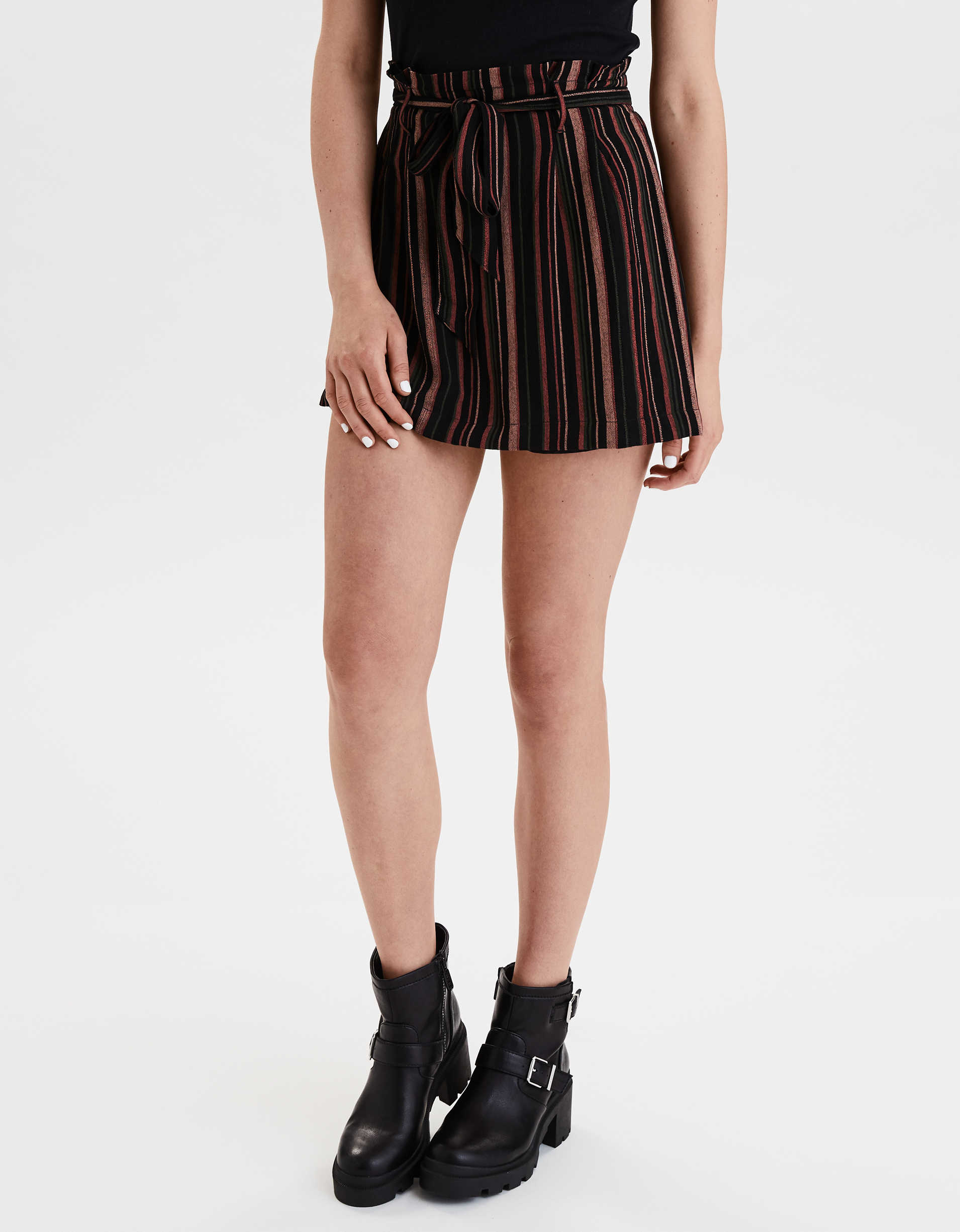 AE High-Waisted Striped Belted Mini Skirt