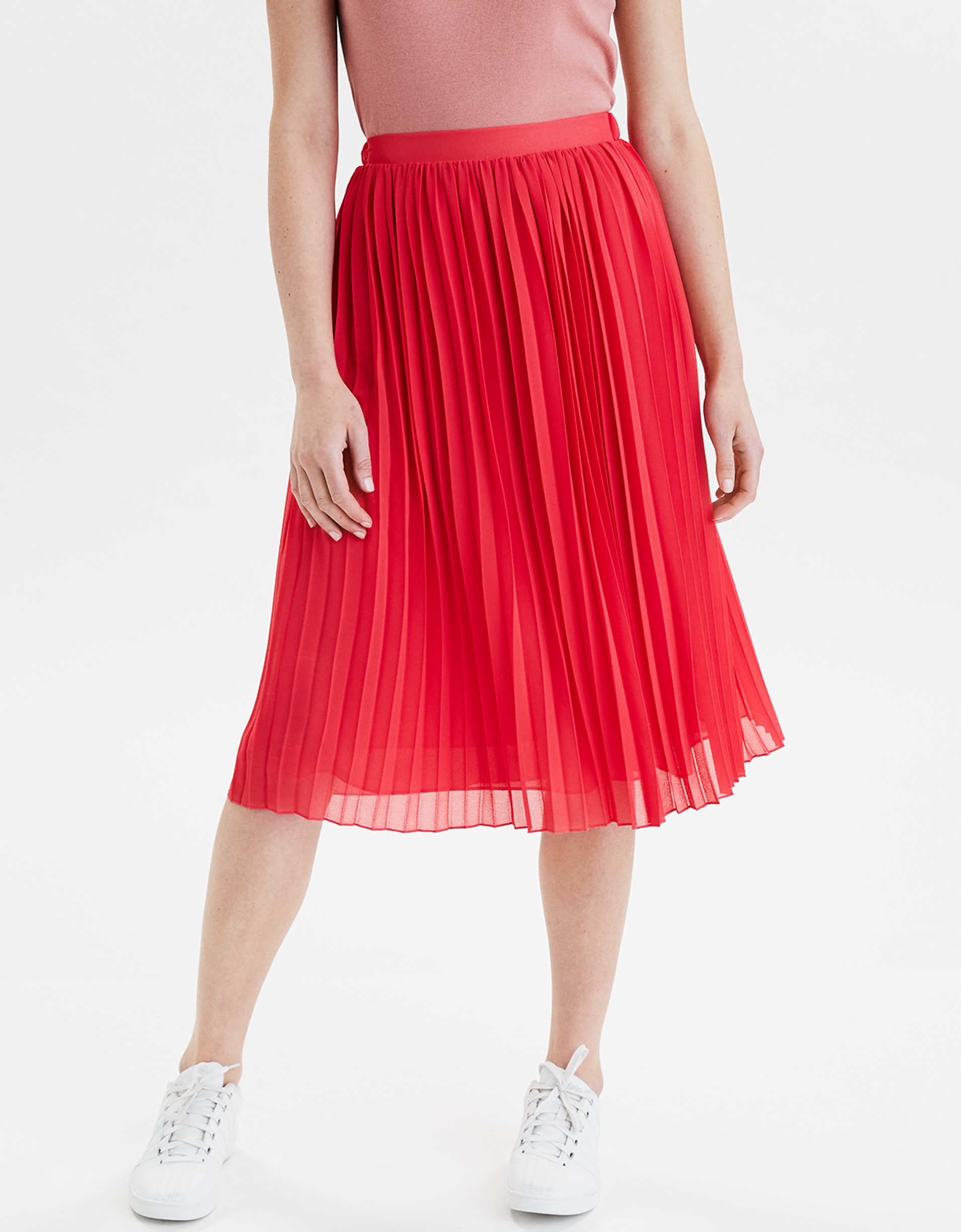 AE High-Waisted Pleated Midi Skirt