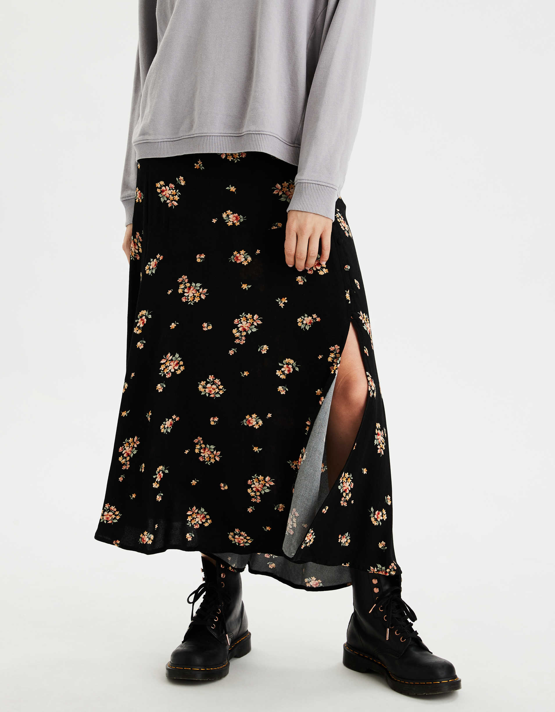 AE Button Up Sip Midi Skirt