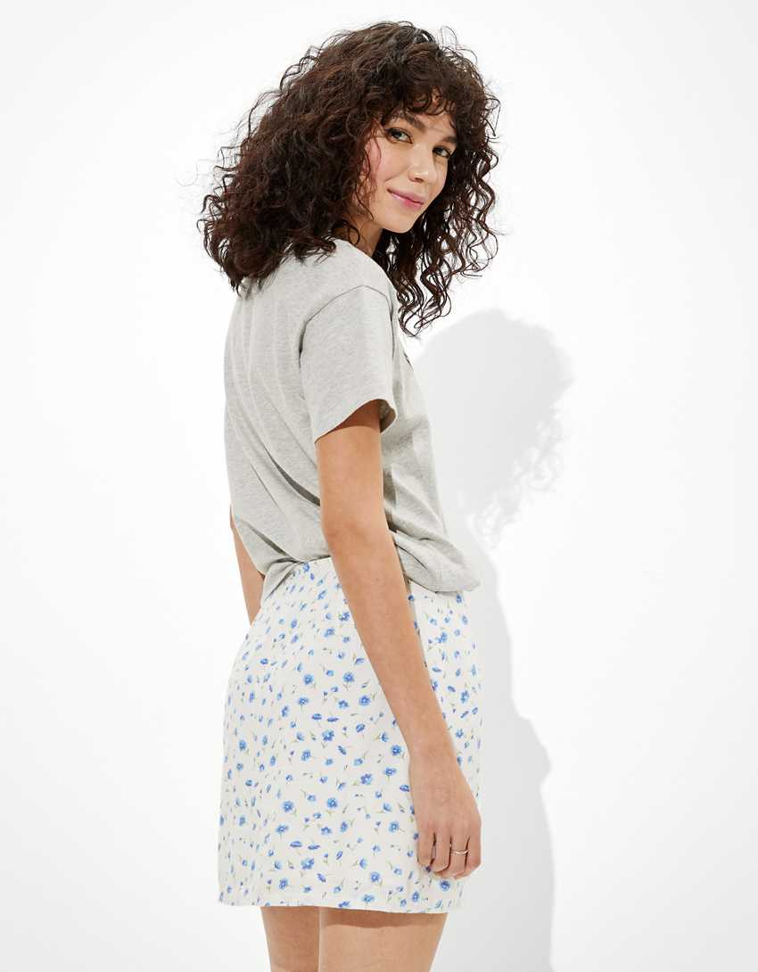 AE Floral Notched Mini Skirt