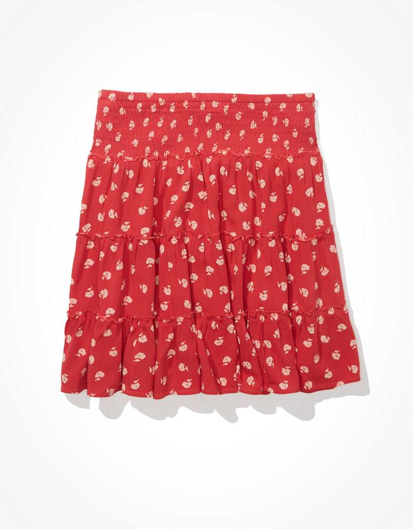 AE Floral Tiered Smocked Mini Skirt