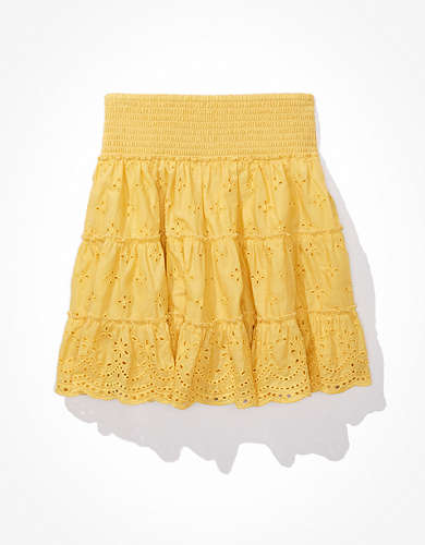AE Solid Smocked Tiered Mini Skirt