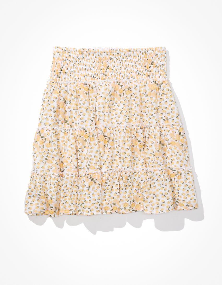 AE Floral Smocked Tiered Mini Skirt