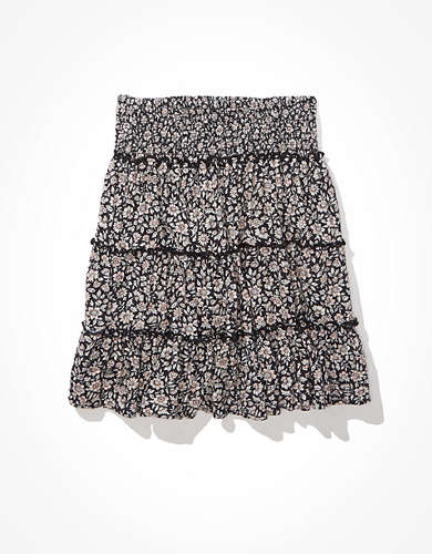 AE Floral Tiered Smocked Mini Skirt