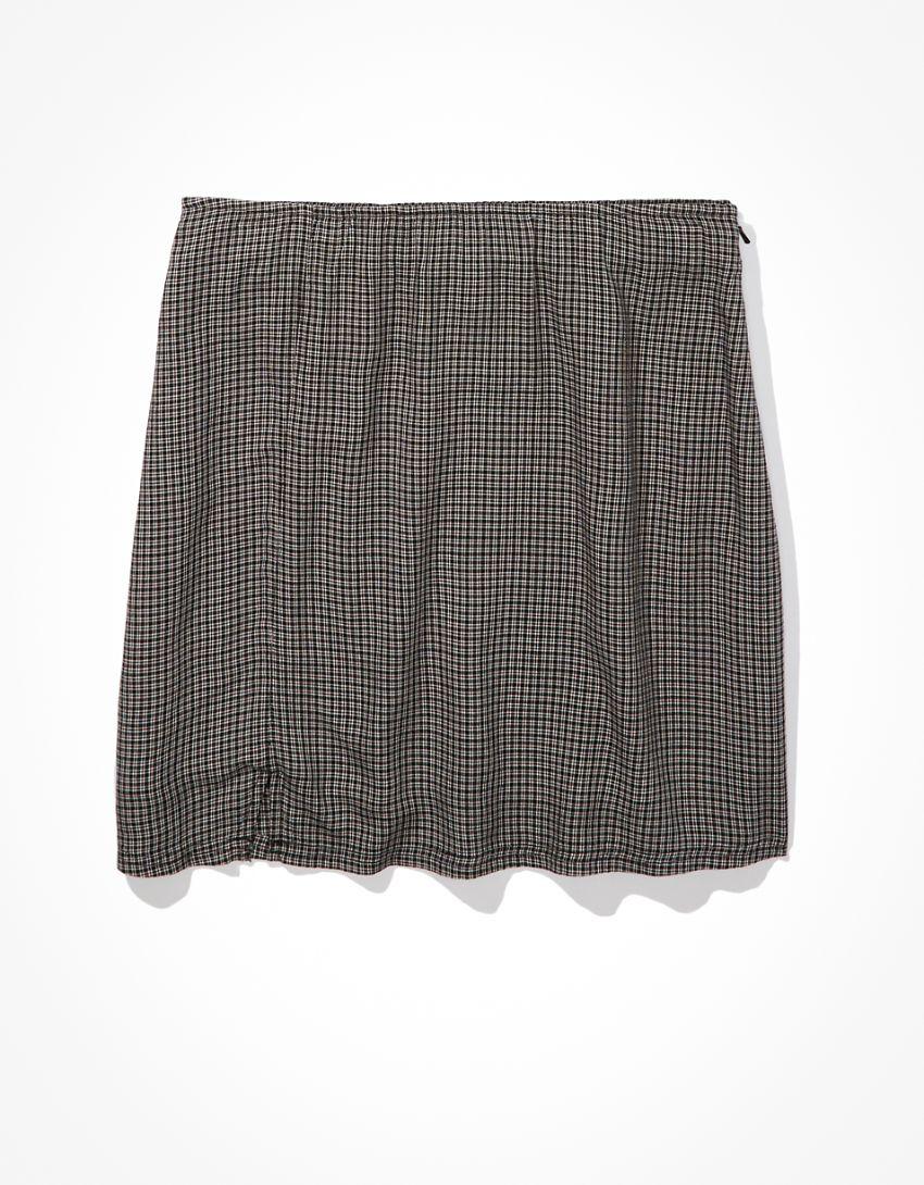 AE Plaid Slit Mini Skirt