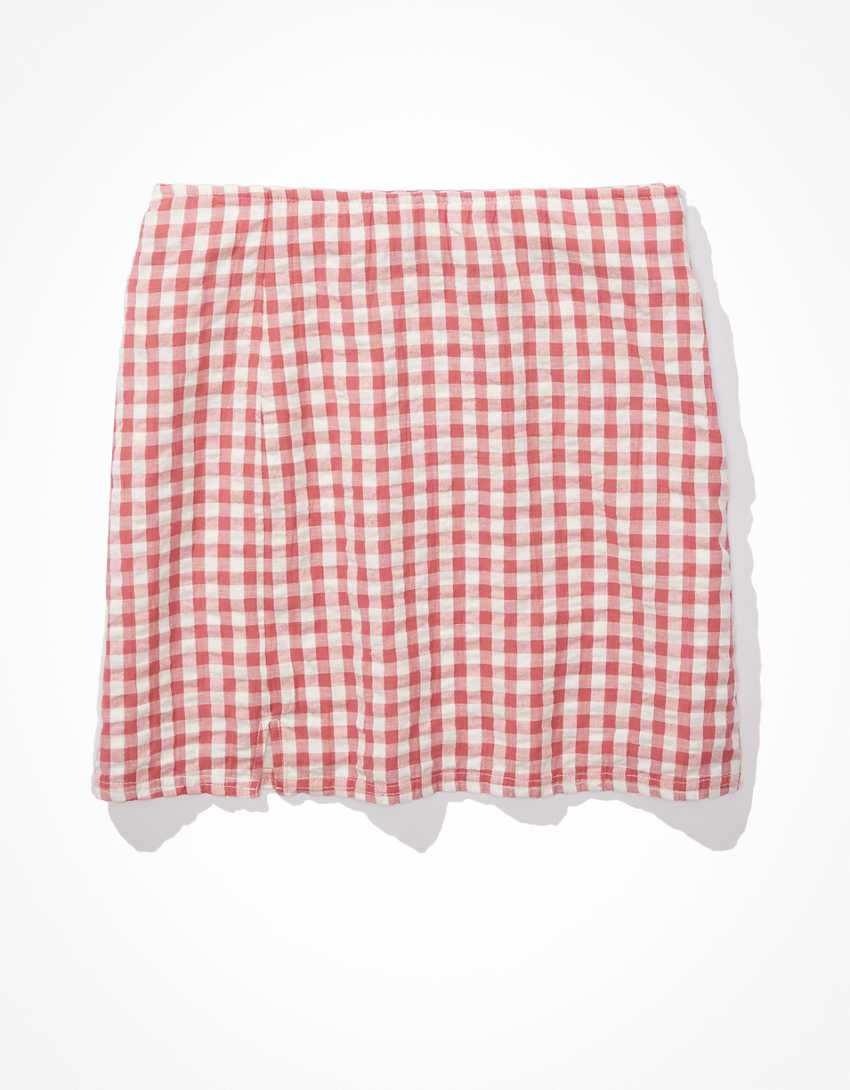 AE Gingham Notched Mini Skirt
