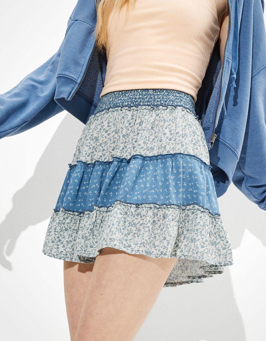 AE Print Mix Tiered Mini Skirt