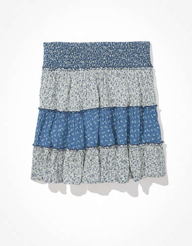 AE Print Mix Tiered Mini Skirt