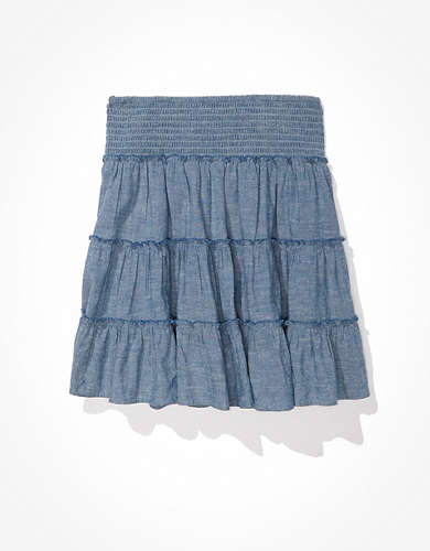 AE Chambray Smocked Tiered Mini Skirt