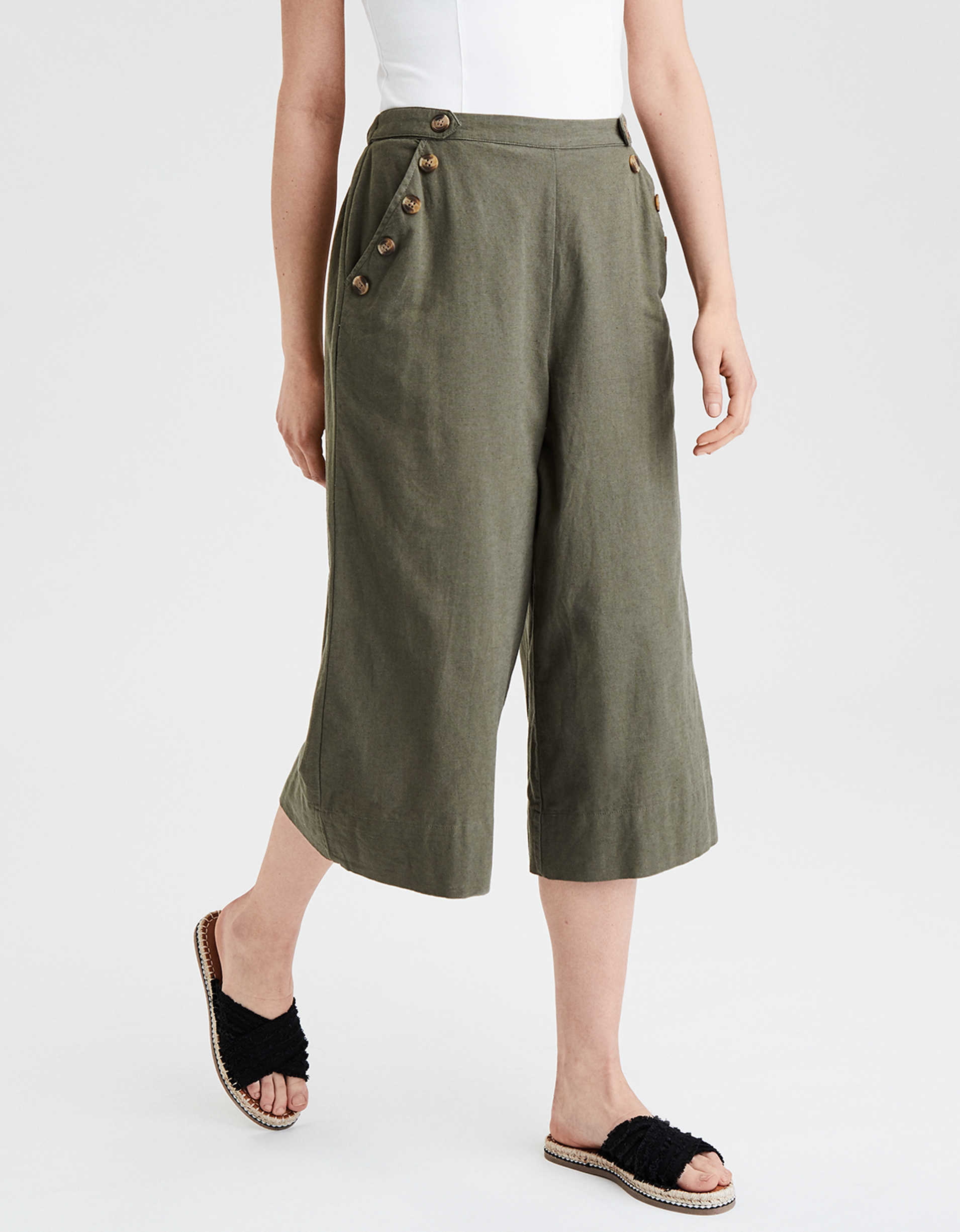 AE High-Waisted Side Button Culottes