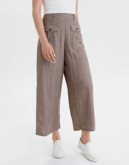AE High-Waisted Plaid Wide Leg Pant
