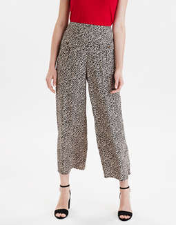AE High-Waisted Leopard Wide Leg Pant