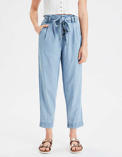 AE High-Waisted Denim Paperbag Taper Pant
