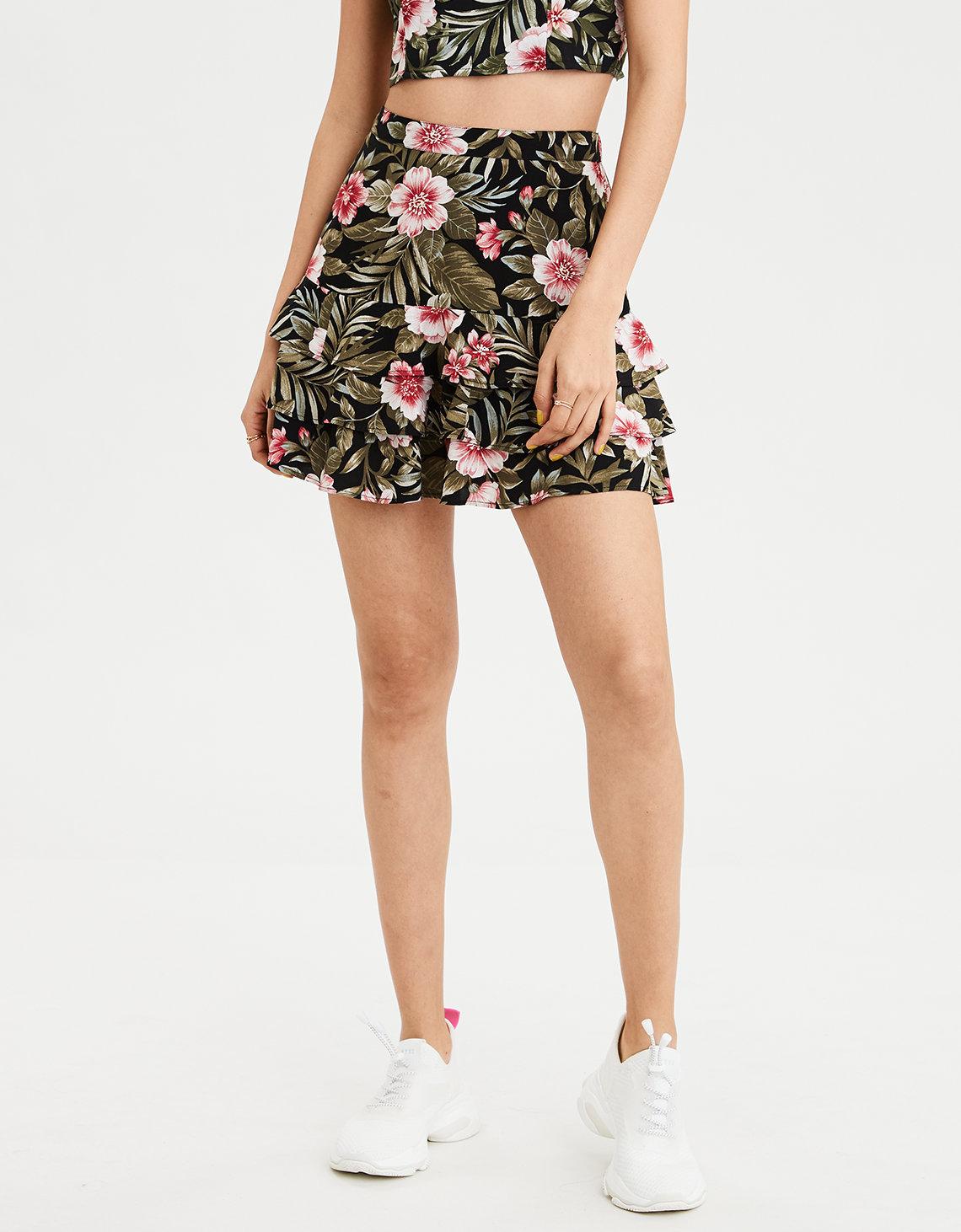 f2377f58a AE High-Waisted Tropical Tiered Mini Skirt